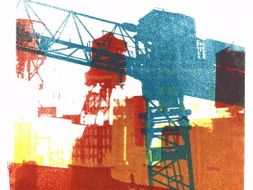Collage made from my photos of Building cranes & watertowers in New York city - Collage in print art