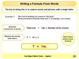 Writing a Formula from Words KS4