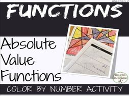 Absolute Value Functions transformations Color by Number Activity