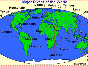 World Map Of Rivers Geography   Locating Rivers of the World Activity Sheet | Teaching