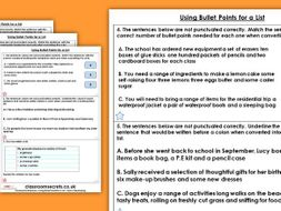 Grammar Year 6 Using Bullet Points for a List Spring Block 1 Homework Extension