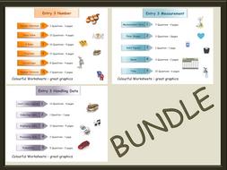 48 page BUNDLE - Entry 3-Three Workbooks-Number-Measures-Handling Data