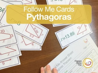 Pythagoras Theorem Follow-Me Cards - A game for working with right angled triangles.