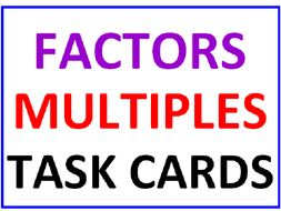 Factors and Multiples Activity Cards with Lesson Plan (36 cards)