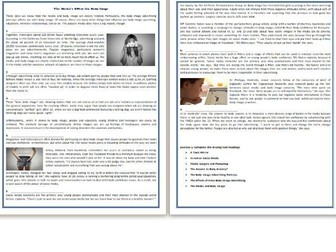The Media's Effect On Body Image - Reading Comprehension Worksheet / Text