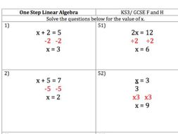 Maths KS3/ GCSE - 100 One Step Linear Equations Questions and Worked Answers
