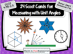 24 Scoot Cards for Measuring Unit Angles w/ Bonus Smart Notebook File 4.MD.C.5