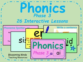 Phonics phase 3 - 26 interactive lessons
