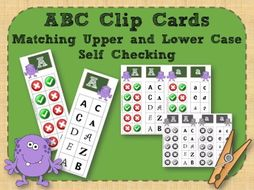 Alphabet Clip Cards Upper and Lower Case Recognition - Monsters