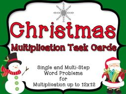 Christmas Multiplication Task Cards: 28 Story Problems