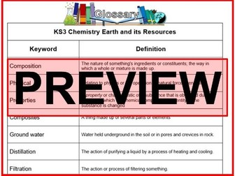 KS3 Science Glossary Chemistry The Earth and its Resources (Blank & Completed)