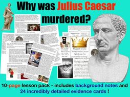 The murder of Julius Caesar - 10-page full lesson (notes, card sort)