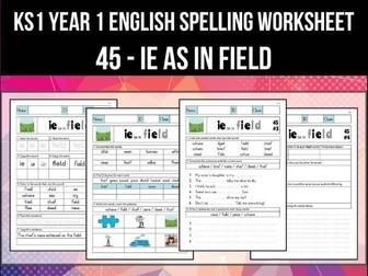 Spelling & Phonics Worksheet - iː sound spelled IE
