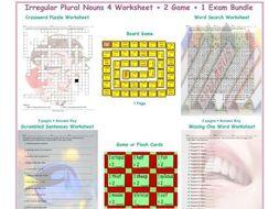 Irregular Plural Nouns 4 Worksheet-2 Game-1 Exam Bundle