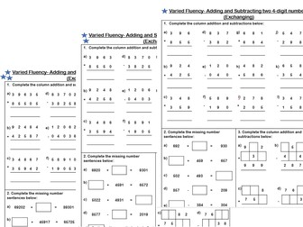 white rose maths year 4 addition and subtraction of two 4 digit numbers varied fluency. Black Bedroom Furniture Sets. Home Design Ideas