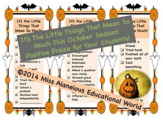 Classroom Management: October Positive Notes of Praise!