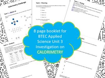 BTEC Unit 3 Applied Science Booklet Calorimetry