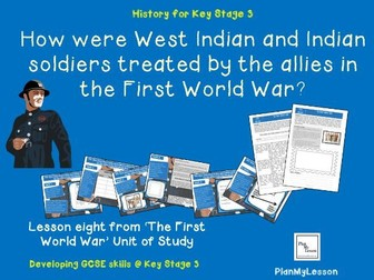 How were West Indian and Indian soldiers treated by the allies during the First World War?