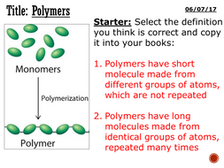 Polymers - complete lesson (KS3)