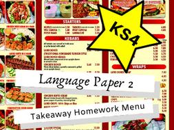 AQA English Language Paper 2 KS4 Takeaway Homework Menu