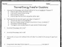 Thermal Energy Transfer: A Nonfiction Close Reading Activity by ...