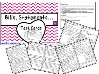 9-1 NEW SPEC Bills, Statements, Credit, Debit (Task Cards)