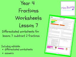 7. Fractions: subtract 2 fractions worksheets (Y4)