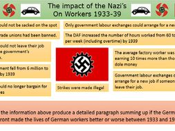 Workers in Nazi Germany - How did their lives change 1933 - 1939