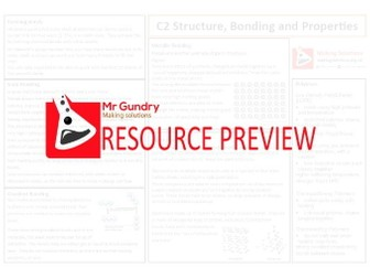 AQA C2 Structure, Bonding and Properties Revision Sheet 1