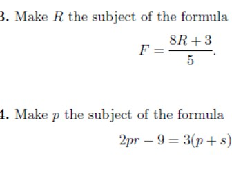 Formulae and equations worksheet (with solutions)