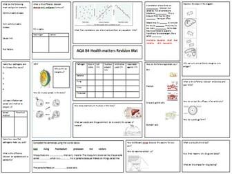 AQA Biology GCSE Health matters B4 revision mat