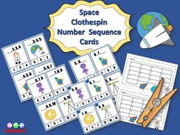 Space Clothespin Number Sequence Cards