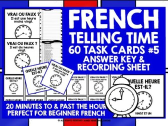 FRENCH TELLING TIME CHALLENGE CARDS #5