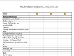 AQA AS Level Biology Check List