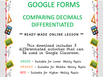 Differentiated - Comparing Decimals - Online Learning - Google Forms