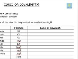 Ionic or Covalent? (worksheet) - GCSE Chemistry/ Combined Science ...
