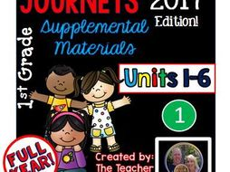 Journeys 2017 1st Grade Units 1-6 Supplemental Materials Full Year