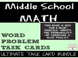 Middle school Math Word Problem Task Card Bundle