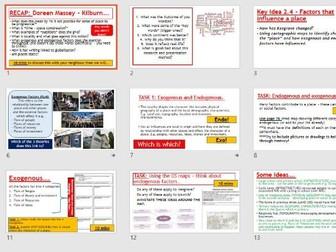 AQA A-LEVEL Changing Places - Exogenous and Endogenous factors (Lesson + Resources)