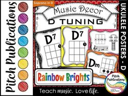 Music Decor Rainbow Brights - Ukulele Chord Chart Posters D TUNING