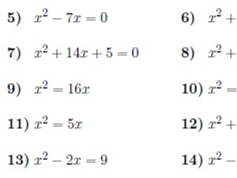 Solving Quadratic Equations Worksheets With Solutions By Math W
