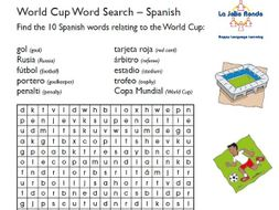 2018 WORLD CUP SPANISH WORD SEARCH
