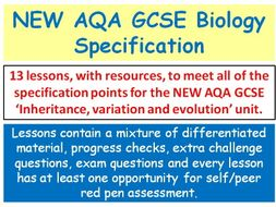 NEW AQA GCSE Biology - 'Inheritance, variation and evolution' lessons