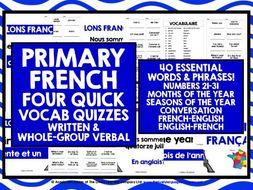 PRIMARY FRENCH VOCABULARY QUIZ 2