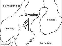 SWEDEN - Printable handout with map and flag