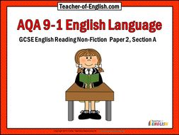 AQA Reading Non-fiction – Paper 2 Section A (9-1) - PowerPoint and worksheets