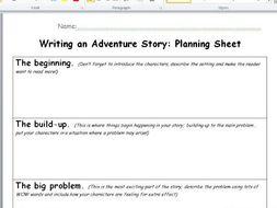 Adventure story planning sheet KS2