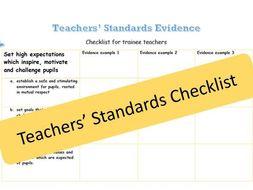 Teachers' Standards Evidence checklist
