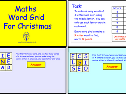 Maths Word Grid For Christmas (SmartBoard version)