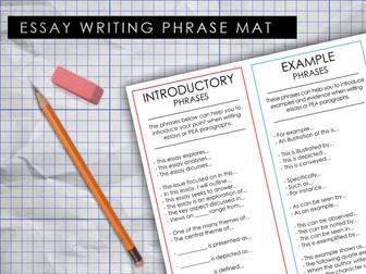Essay Planning Phrase Mat (PEA Sentence stems)
